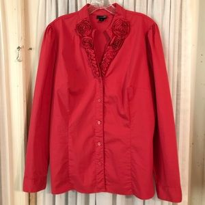 Ladies Red Blouse XL Rose Trim East 5th Brand